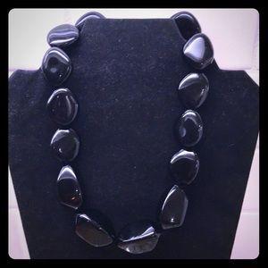 Vintage Black Lucite Beaded Nugget Necklace